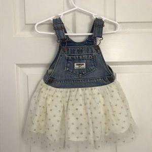OshKosh B'gosh Cream Tulle w/ Hearts Overall Dress